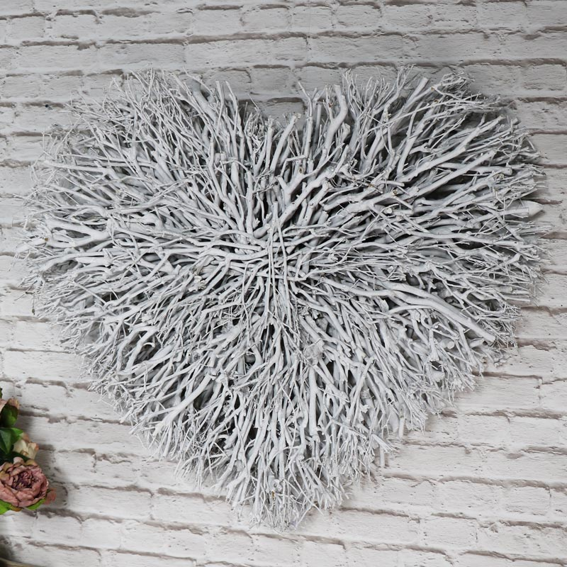 Large White Washed Twig Heart Wall Art Flora Furniture